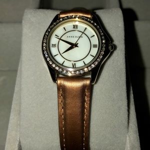Anne Klein copper leather banded Watch